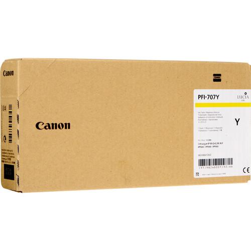 Cartucho com tinta Canon PFI 707 (Yellow) para uso em impressora Canon IPF830 / 840 / 850 (700ml) - Codigo - 9824B001AA